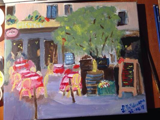 French cafe, acrilico 30×25