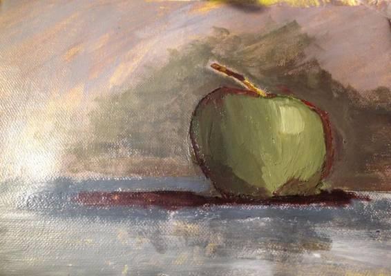 Natura morta – still life – studio di mela – acrilico 30×25