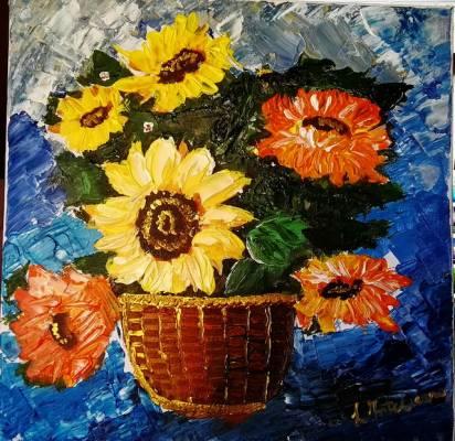 Vaso di girasoli, acrilico su tela 40×40